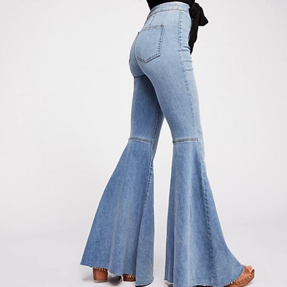 Free People Just Float On Printed Flare Jeans High Rise Size  24